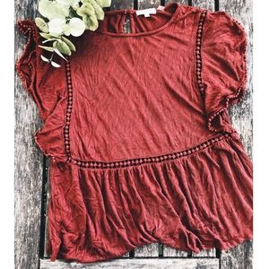 On The Road Paolina Top in Burgundy